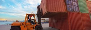 container unit being handling lifting by forklift