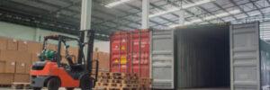 forklift loading pallet